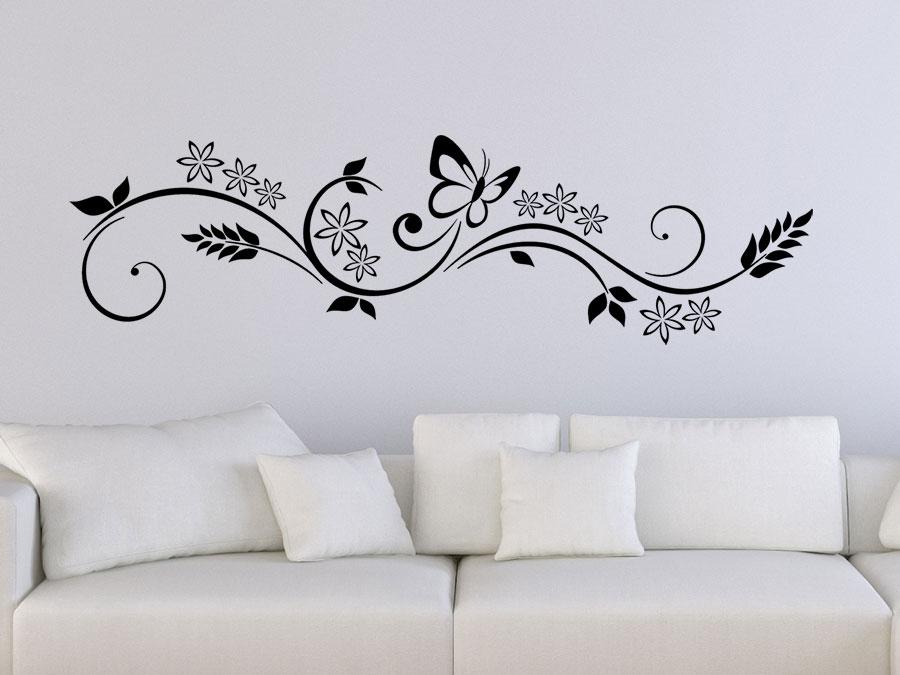 Wandtattoo Florales Design mit Schmetterling