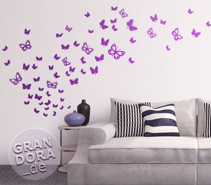 Wandtattoo Schmetterlingsschwarm W819 Wohnzimmer