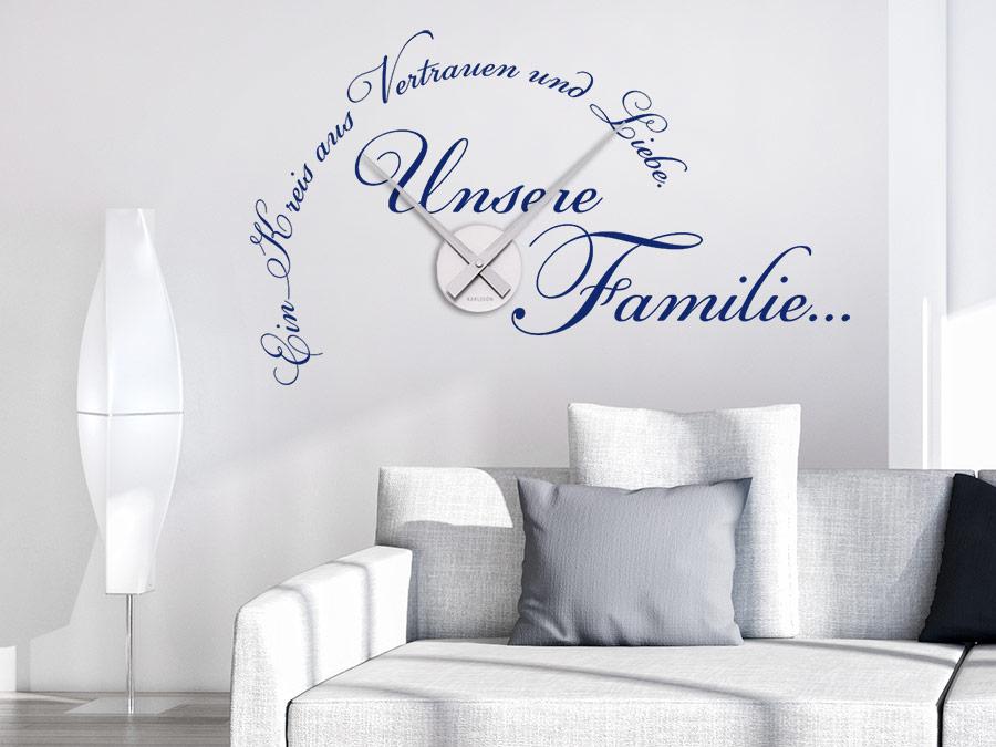 Wandtattoo Uhr Unsere Familie Wanduhr