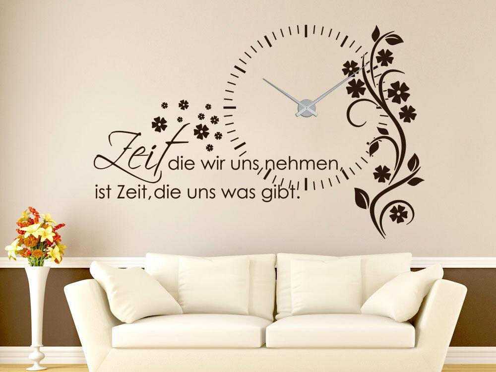 Wandtattoo Uhr XXL mit Uhrwerk für Wohnzimmer Spruch Zeit