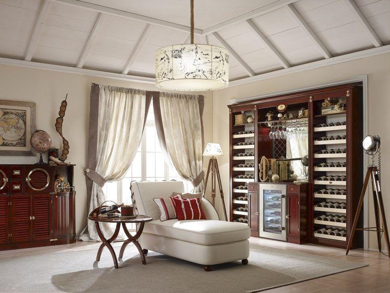 Weinregal im Wohnzimmer Einrichtung im Kolonialstil