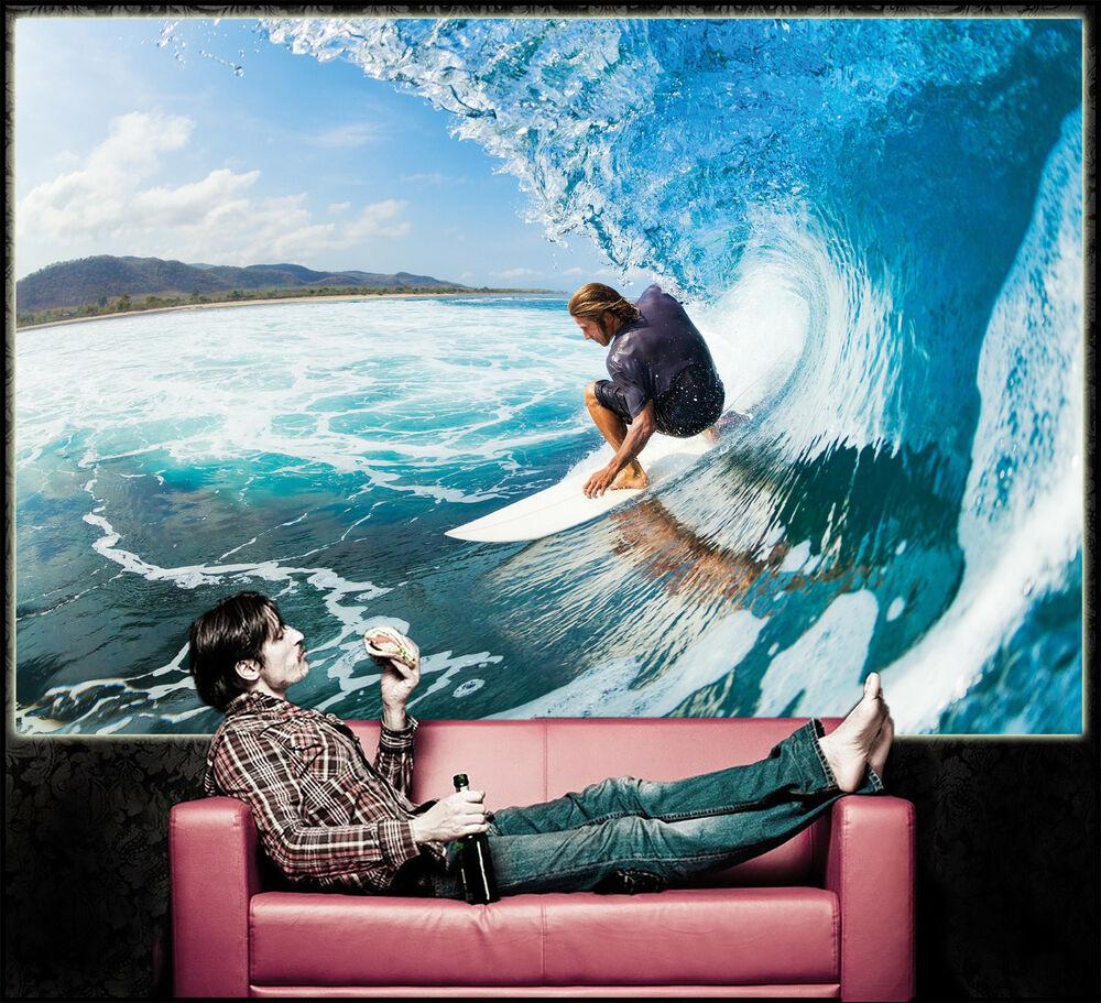 Welle mit Surfer XXL Fototapete Wandbild Wohnzimmer