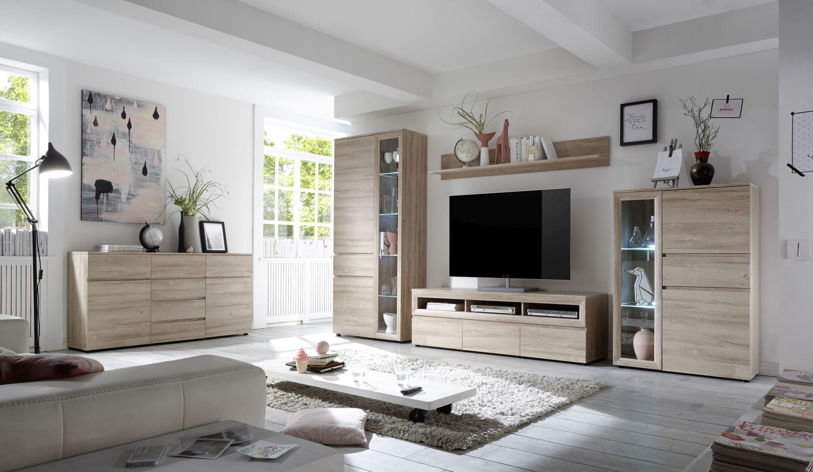 "Wohnwand Wohnzimmer Set ""Andalusien"" 5 tlg LED"
