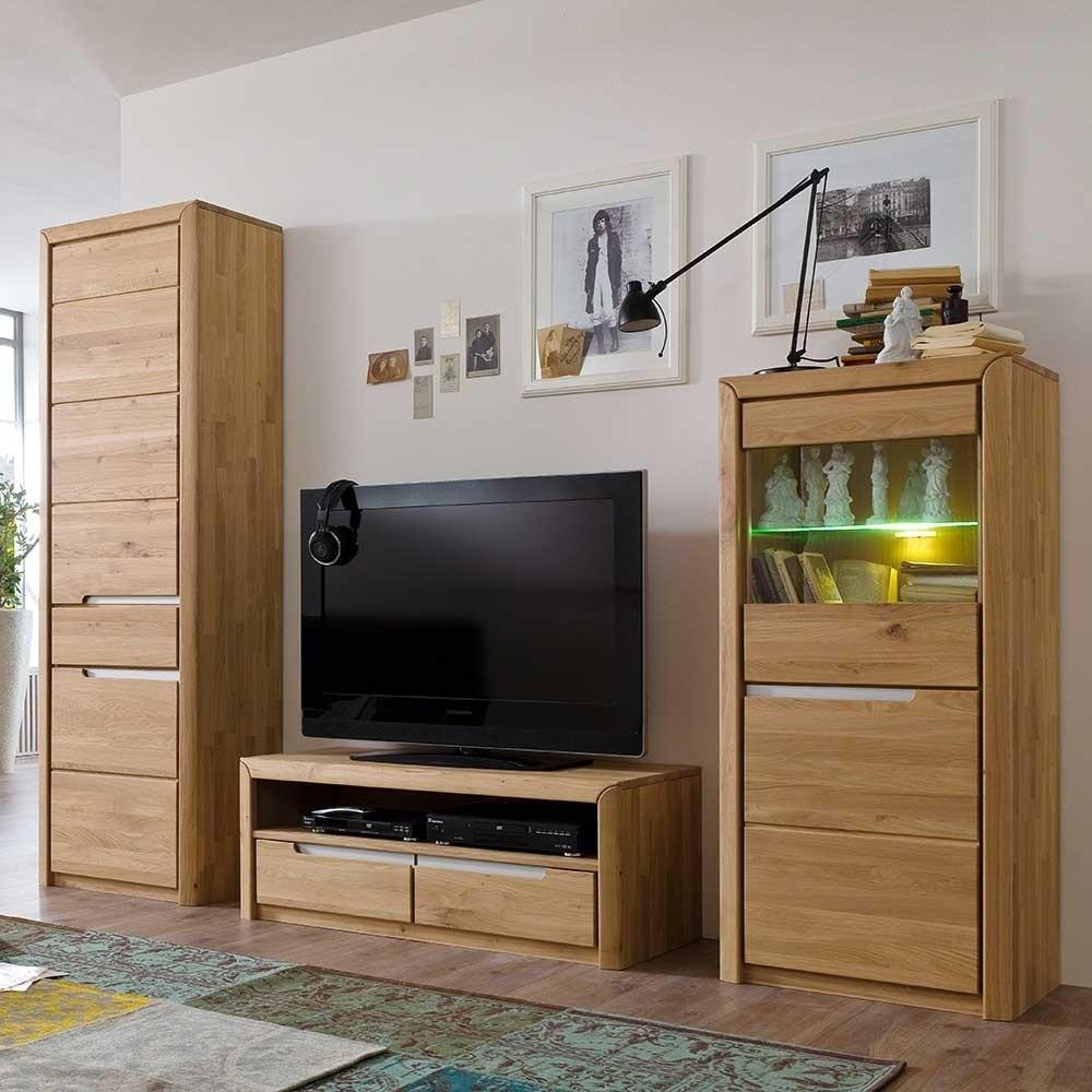 Wohnzimmer Anbauwand Croconia aus Wildeiche Massivholz