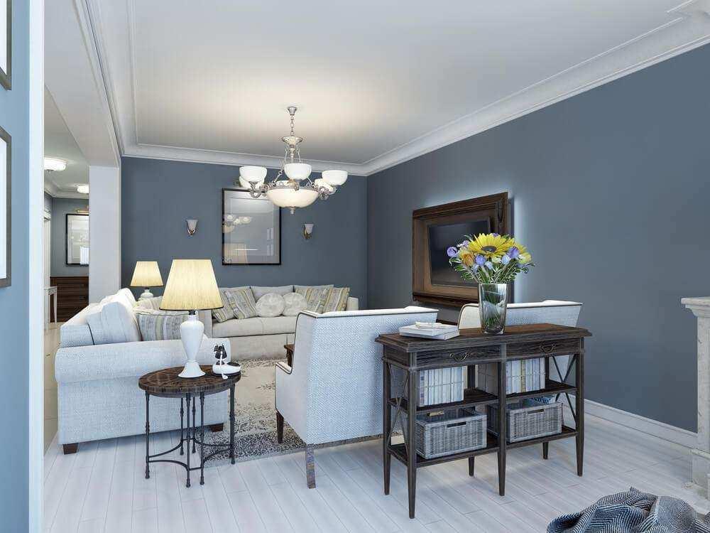 Wohnzimmer Blau Grau WaterSoftnerGuide