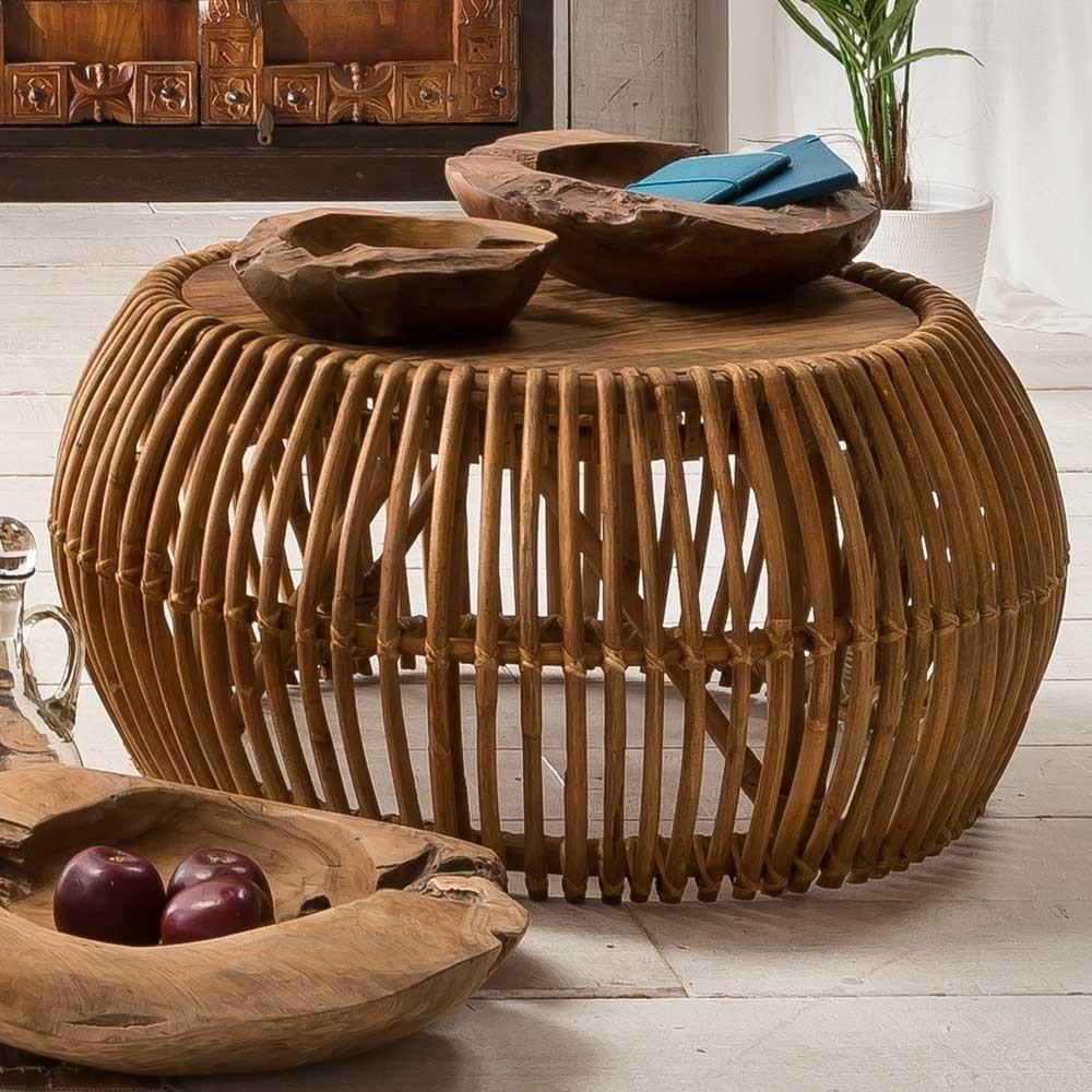 Wohnzimmer Couchtisch Biledda aus Rattan rund