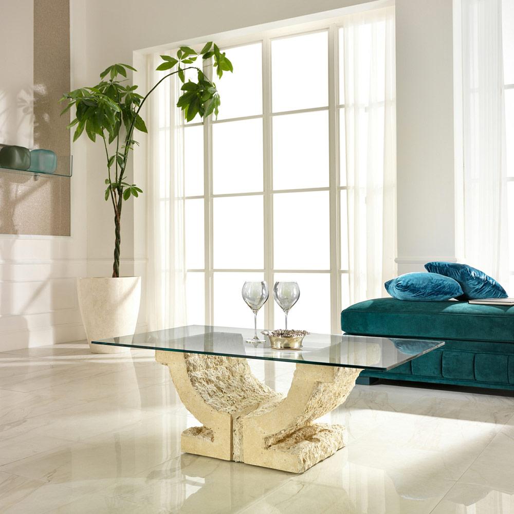 Wohnzimmer Couchtisch mit Glas Tischplatte Cris