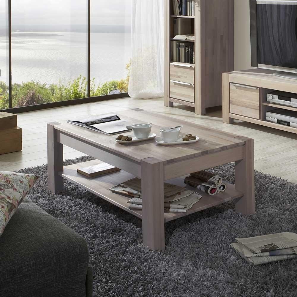 Wohnzimmer Couchtisch Thivios aus Wildeiche Massivholz