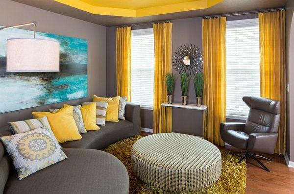 Wohnzimmer Farbgestaltung – Grau und Gelb Wohnzimmer