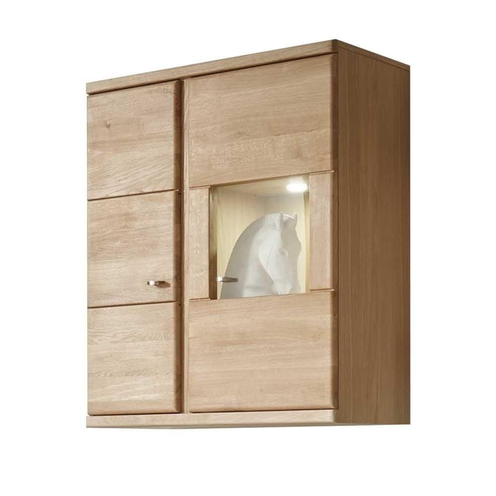 Wohnzimmer Hängevitrine Smonia aus Wildeiche Bianco 90 cm