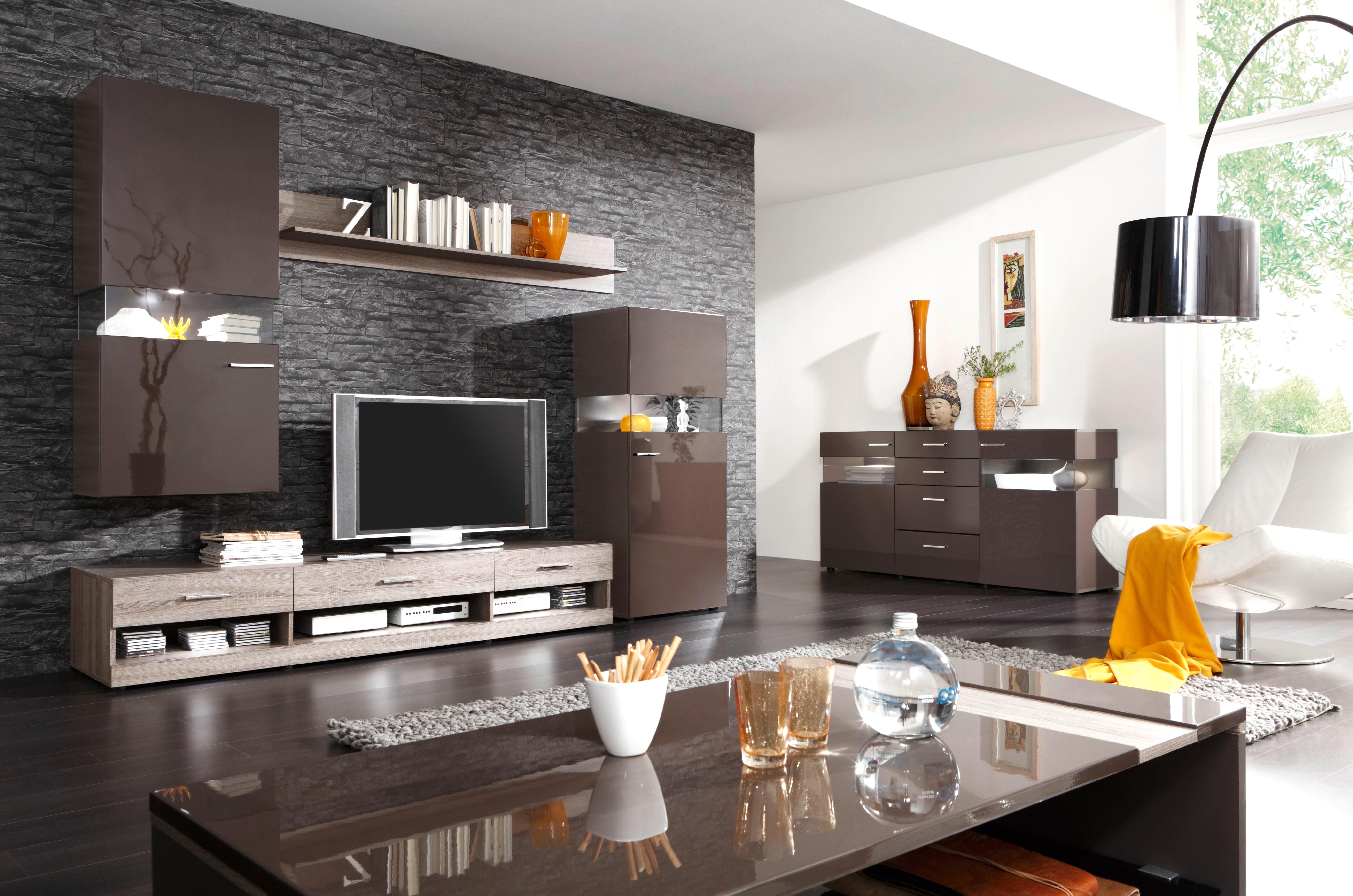Wohnzimmer Ideen Wandgestaltung Braun Wohndesign