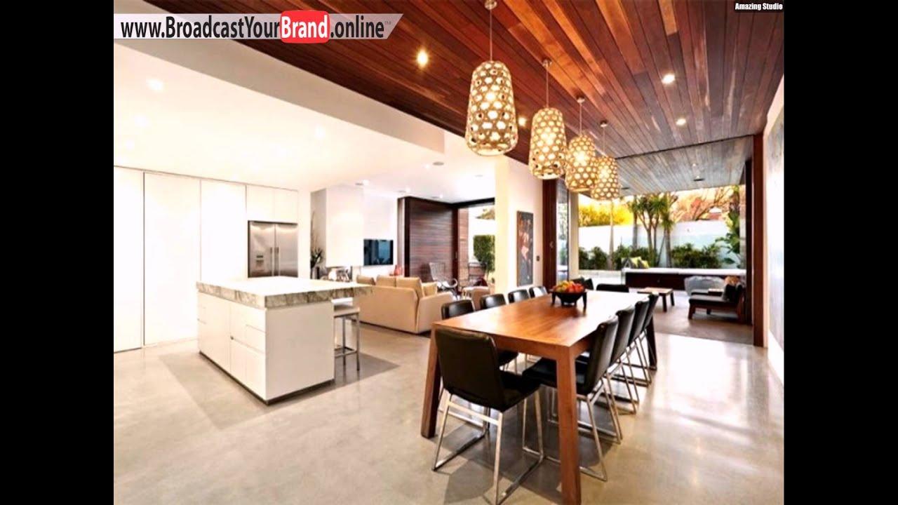 Wohnzimmer Küche In Einem Holzdecke Goldene Pendelleuchten