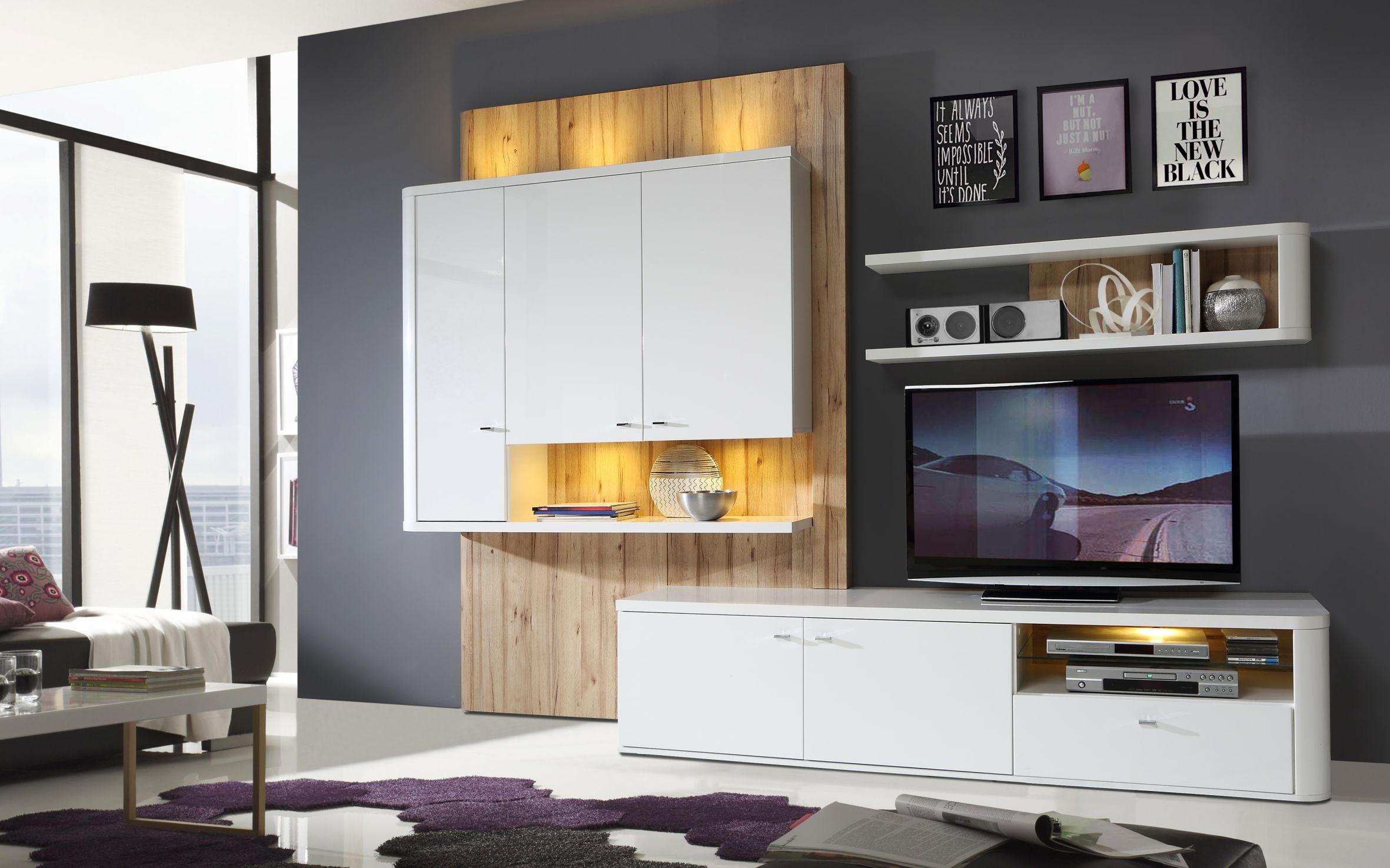 Wohnzimmer Marlow Wohnwand inkl LED Beleuchtung