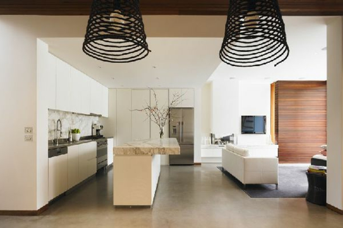 Wohnzimmer mit Küche 34 moderne Designs Archzine
