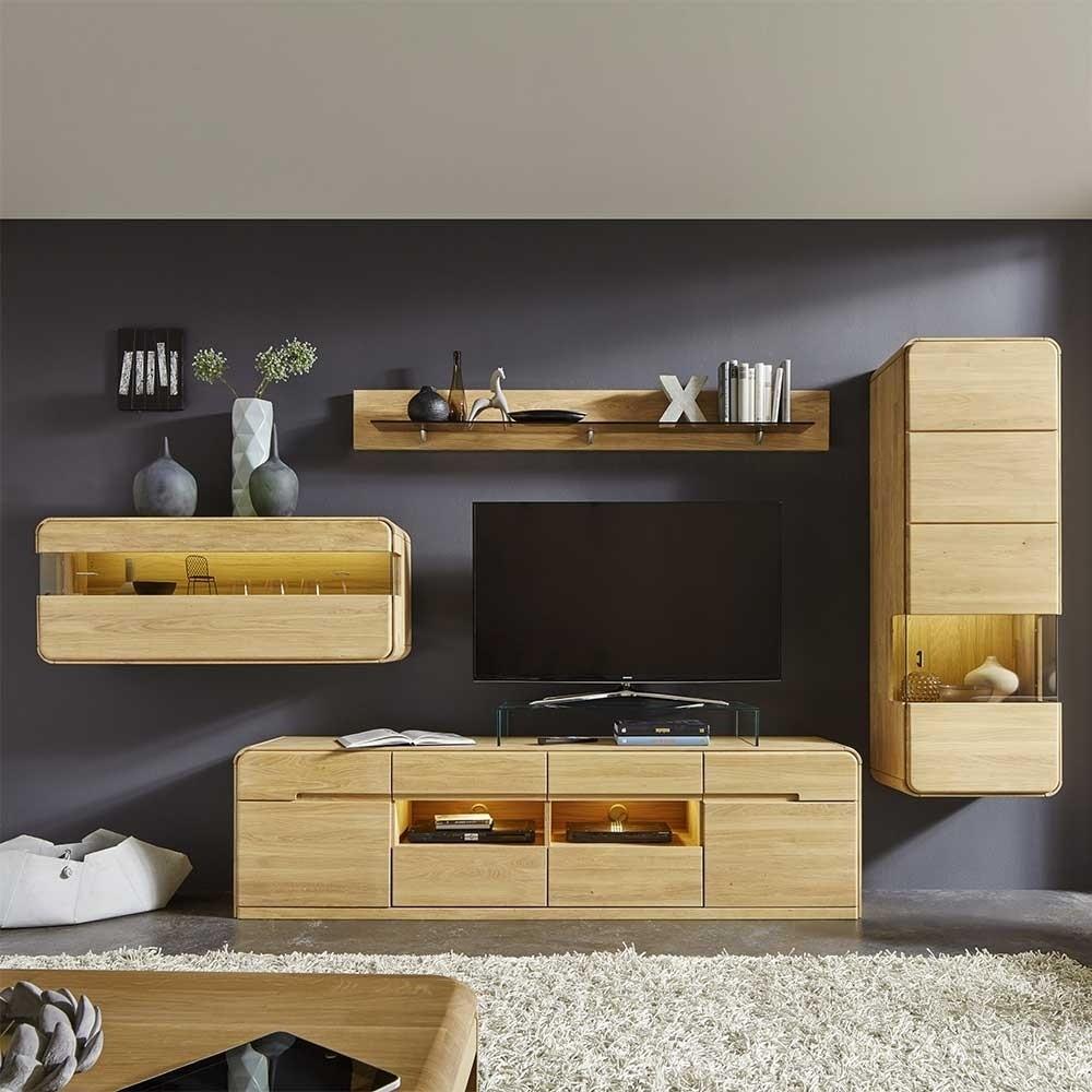 Wohnzimmer Möbel Set aus Massivholz Eiche Bianco