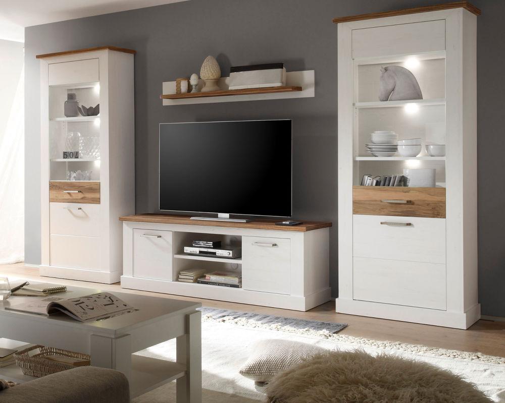 Wohnzimmer Möbel Wohnwand weiß Pinie Nussbaum Satin