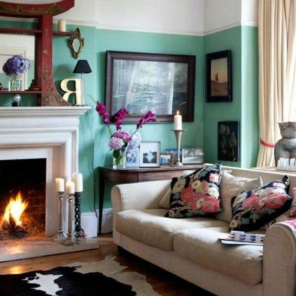wohnzimmer modern gestalten wände in weiß und türkis