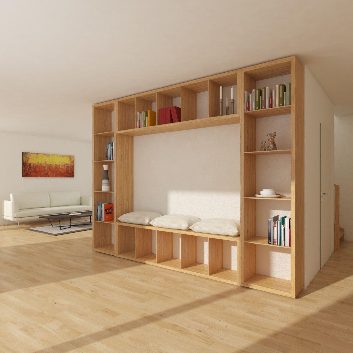 """Wohnzimmer Regal mit Sitzbank Holzhaus innen """"Mein"""