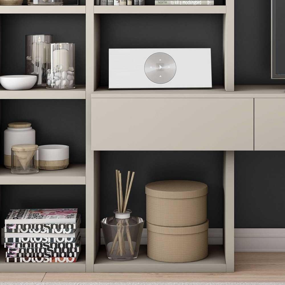 Wohnzimmer Regal mit TV Board in Beige mit 3 Schubladen