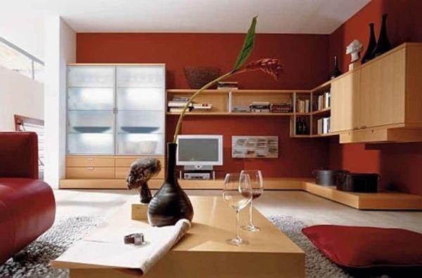 wohnzimmer schön gestalten rote wände Wohnzimmer