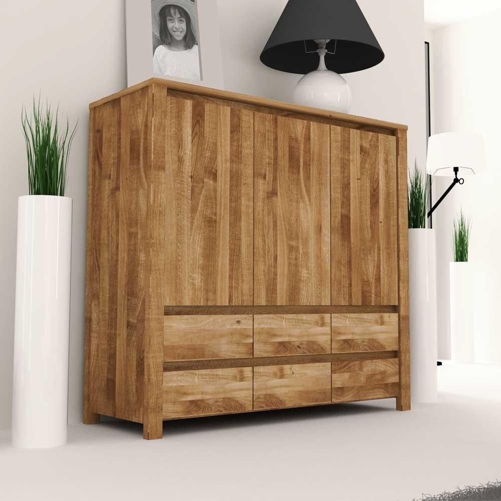 Wohnzimmer Sideboard Nadalia aus Wildeiche Massivholz geölt