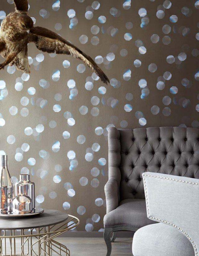 wohnzimmer tapeten design beige lichtpunkte effektfolie