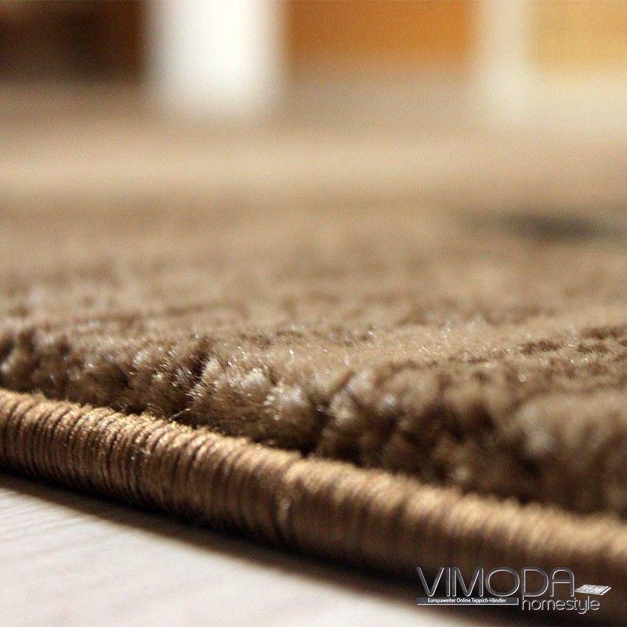 Wohnzimmer Teppich Braun Beige Kariert Retro Muster Modern