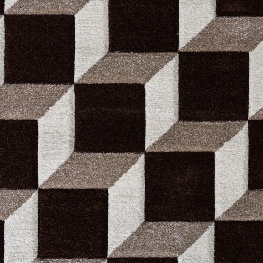 Wohnzimmer Teppich Geo Design Würfel Muster Braun Creme
