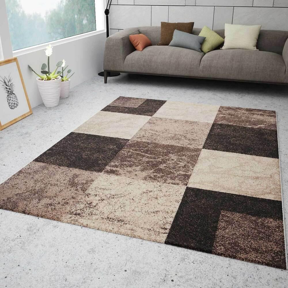 Wohnzimmer Teppich Kariert Braun Beige Meliert