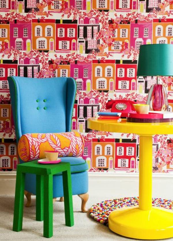 Wohnzimmer Wandgestaltung Ideen coole Beispiele für