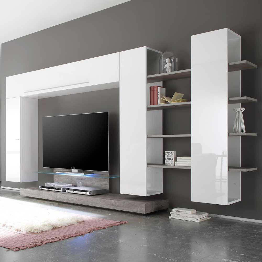 Wohnzimmer Wohnwand Sismael in Weiß Hochglanz