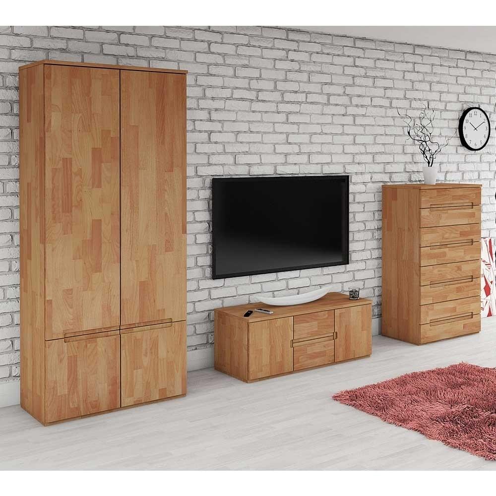 Wohnzimmer Wohnwand Vantonio 280 cm breit aus Buche