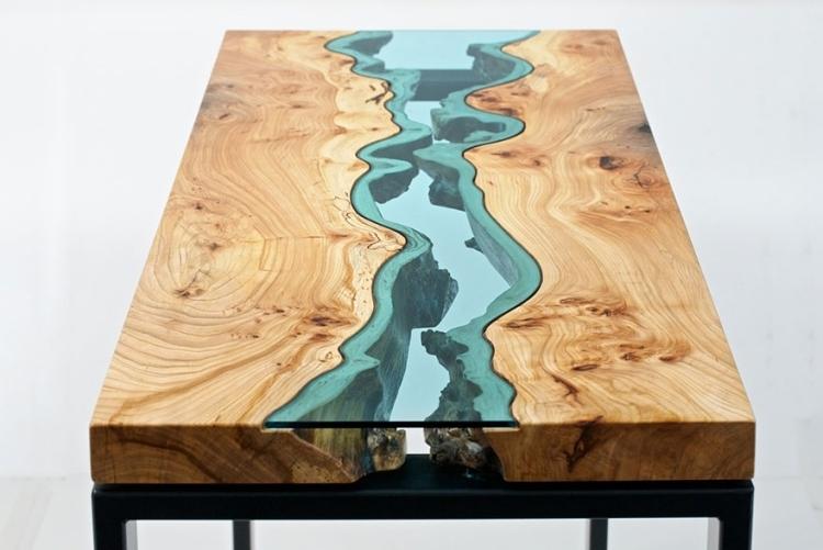 Wohnzimmertisch Holz Glas