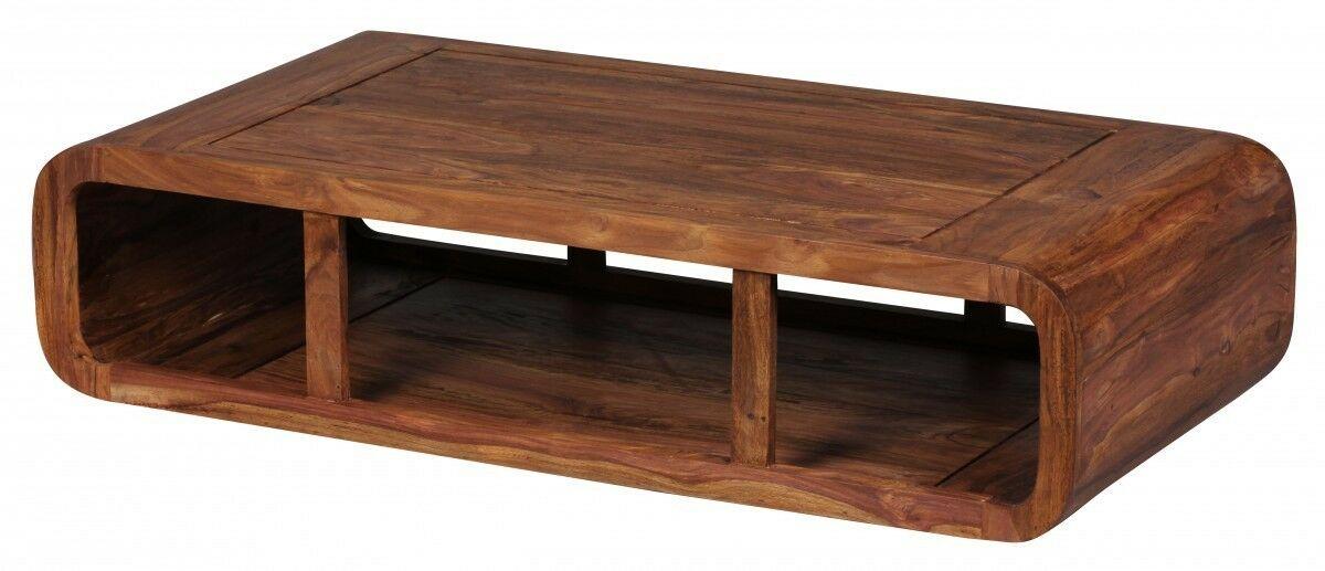 Wohnzimmertisch Holz Massiv Sheesham Couchtisch Ablage 120